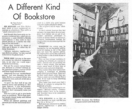 news paper article of Jim Kellison in his Sacramento bookstore in 1974