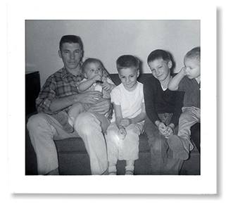 Jim Kellison and his four sons in 1962